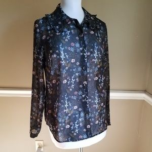 Cabi Floral Semi Sheer Button Down Blouse M